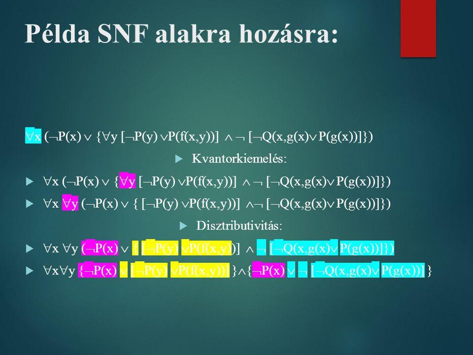  x (  P(x)  {  y [  P(y)  P(f(x,y))]   [  Q(x,g(x)  P(g(x))]})  Kvantorkiemelés:   x (  P(x)  {  y [  P(y)  P(f(x,y))]   [  Q(x,g