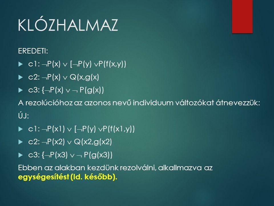 KLÓZHALMAZ EREDETI:  c1:  P(x)  [  P(y)  P(f(x,y))  c2:  P(x)  Q(x,g(x)  c3: {  P(x)   P(g(x)) A rezolúcióhoz az azonos nevű individuum vá