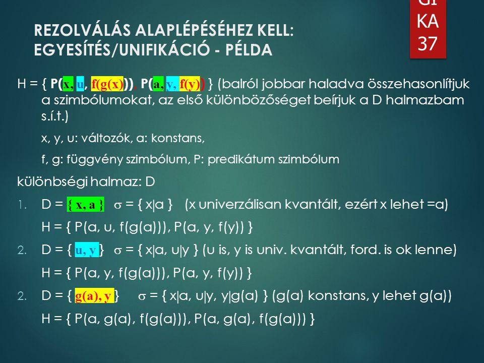 LO GI KA 37 H = { P( x, u, f(g(x) )), P( a, y, f(y) ) } (balról jobbar haladva összehasonlítjuk a szimbólumokat, az első különbözőséget beírjuk a D ha