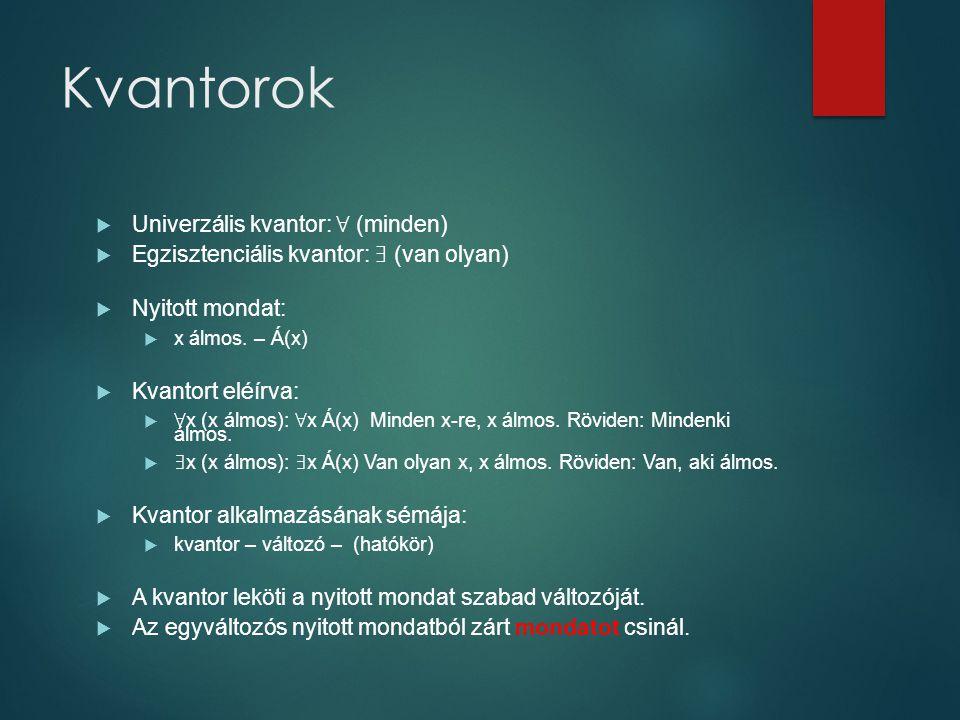 Kvantorok  Univerzális kvantor: ∀ (minden)  Egzisztenciális kvantor: ∃ (van olyan)  Nyitott mondat:  x álmos. – Á(x)  Kvantort eléírva:  ∀ x (x