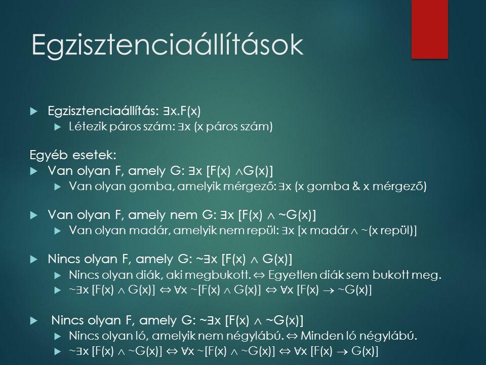 Egzisztenciaállítások  Egzisztenciaállítás: ∃ x.F(x)  Létezik páros szám: ∃ x (x páros szám) Egyéb esetek:  Van olyan F, amely G: ∃ x [F(x)  G(x)]