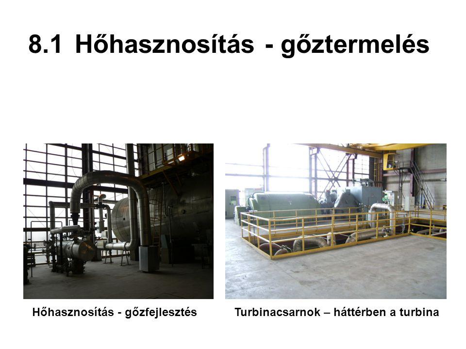 8.1Hőhasznosítás - gőztermelés Turbinacsarnok – háttérben a turbinaHőhasznosítás - gőzfejlesztés
