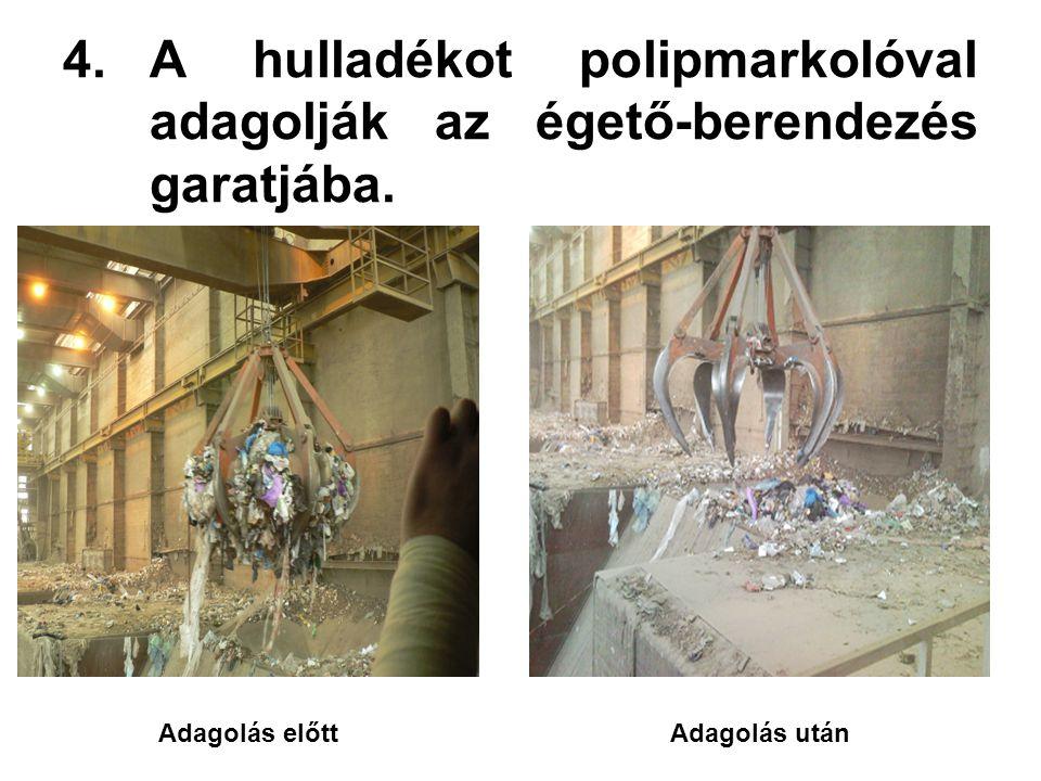 4.A hulladékot polipmarkolóval adagolják az égető-berendezés garatjába. Adagolás előttAdagolás után