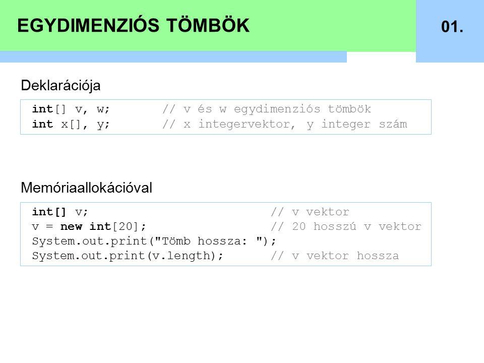 EGYDIMENZIÓS TÖMBÖK 02.