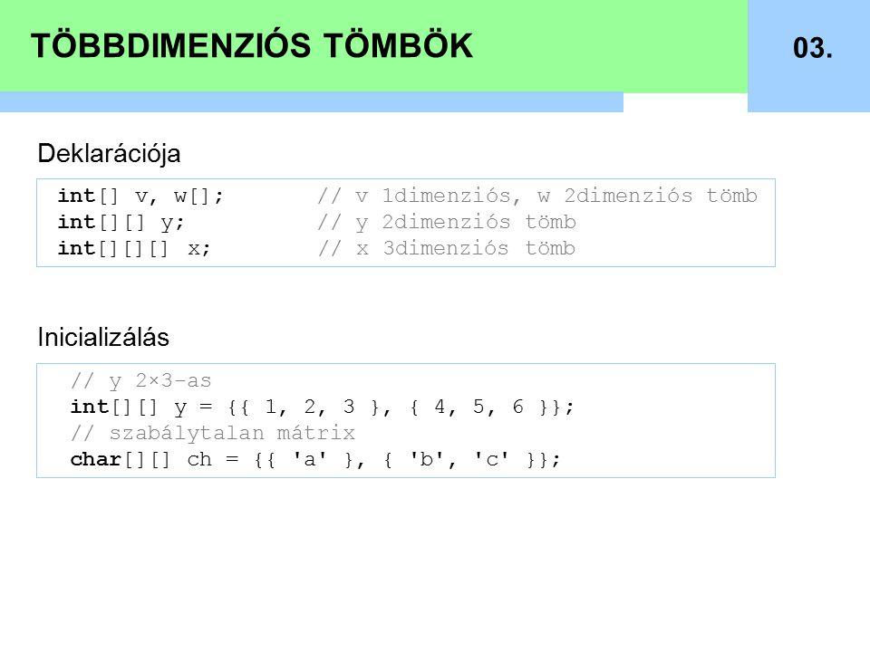 TÖBBDIMENZIÓS TÖMBÖK 03.