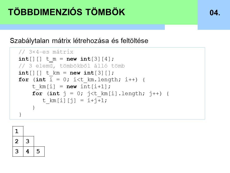 TÖBBDIMENZIÓS TÖMBÖK 04.