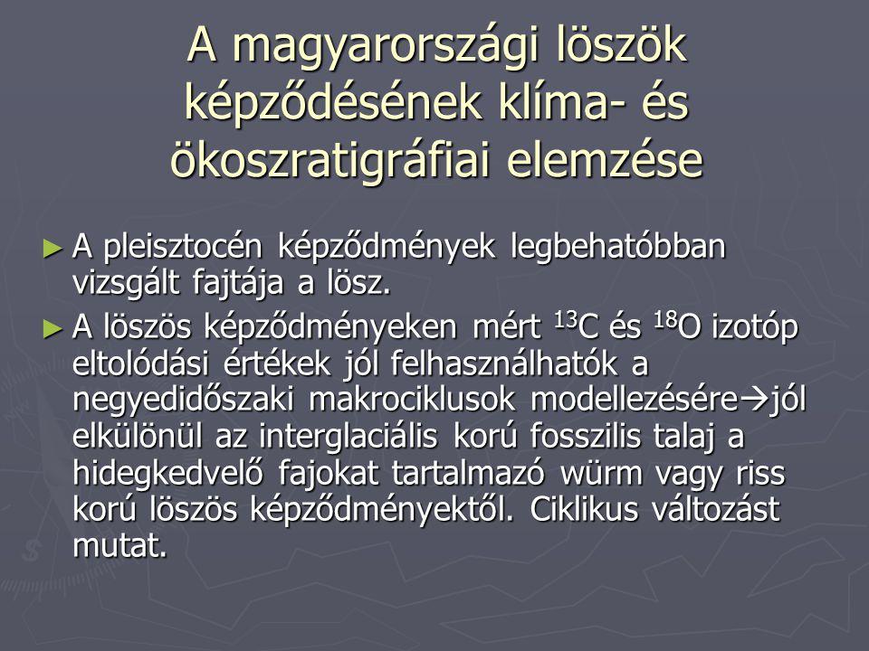 A magyarországi löszök képződésének klíma- és ökoszratigráfiai elemzése ► A pleisztocén képződmények legbehatóbban vizsgált fajtája a lösz. ► A löszös
