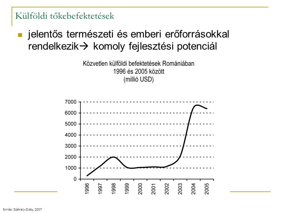 Külföldi tőkebefektetések jelentős természeti és emberi erőforrásokkal rendelkezik  komoly fejlesztési potenciál forrás: Székely-Doby, 2007
