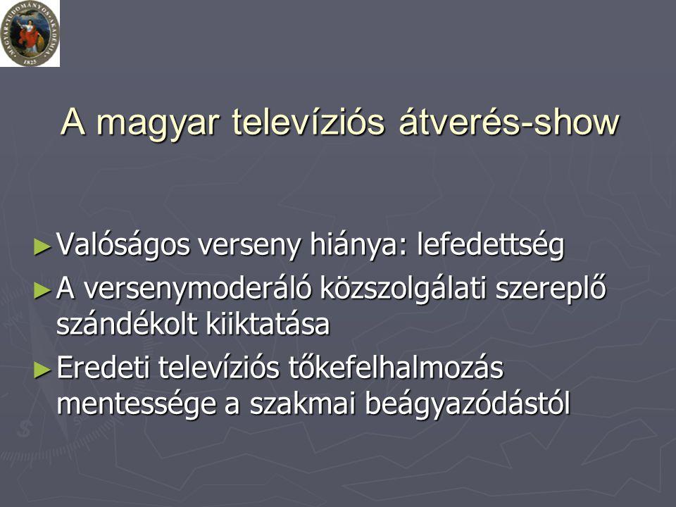 A magyar televíziós átverés-show ► Valóságos verseny hiánya: lefedettség ► A versenymoderáló közszolgálati szereplő szándékolt kiiktatása ► Eredeti televíziós tőkefelhalmozás mentessége a szakmai beágyazódástól
