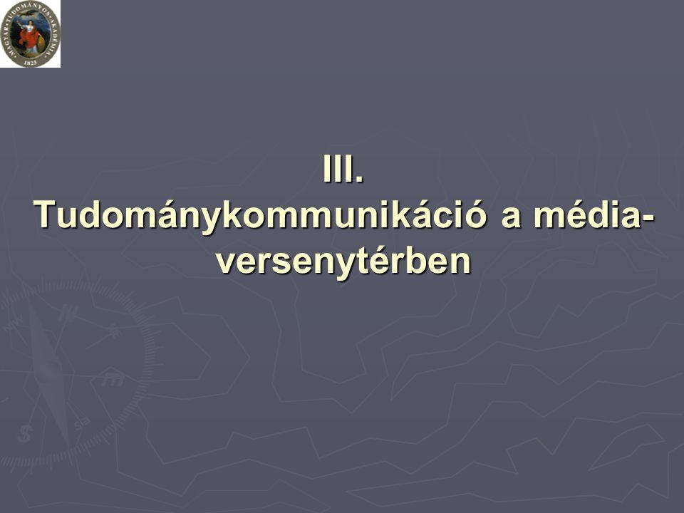 III. Tudománykommunikáció a média- versenytérben