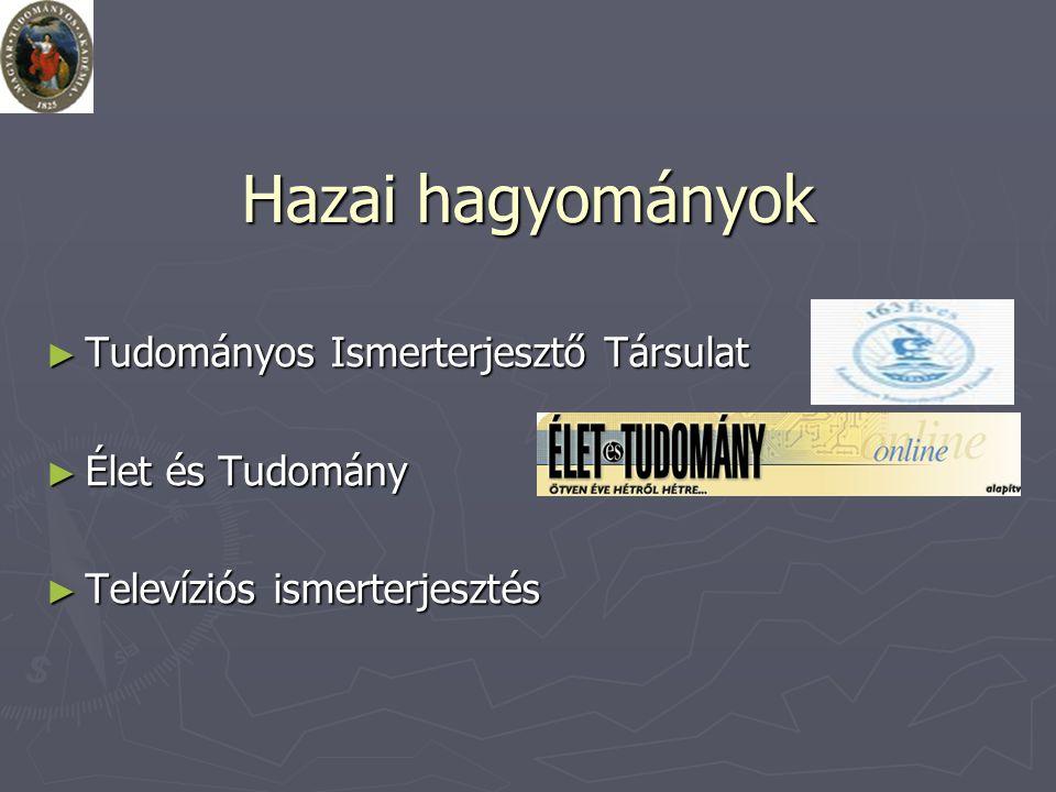 Hazai hagyományok ► Tudományos Ismerterjesztő Társulat ► Élet és Tudomány ► Televíziós ismerterjesztés