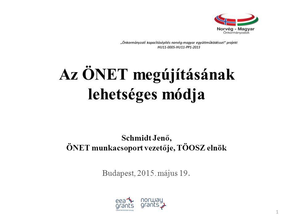Az ÖNET megújításának lehetséges módja Schmidt Jenő, ÖNET munkacsoport vezetője, TÖOSZ elnök Budapest, 2015.