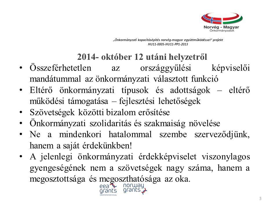 """""""Önkormányzati kapacitásépítés norvég‐magyar együttműködéssel projekt HU11-0005-HU11-PP1-2013 2014- október 12 utáni helyzetről Összeférhetetlen az országgyűlési képviselői mandátummal az önkormányzati választott funkció Eltérő önkormányzati típusok és adottságok – eltérő működési támogatása – fejlesztési lehetőségek Szövetségek közötti bizalom erősítése Önkormányzati szolidaritás és szakmaiság növelése Ne a mindenkori hatalommal szembe szerveződjünk, hanem a saját érdekünkben."""