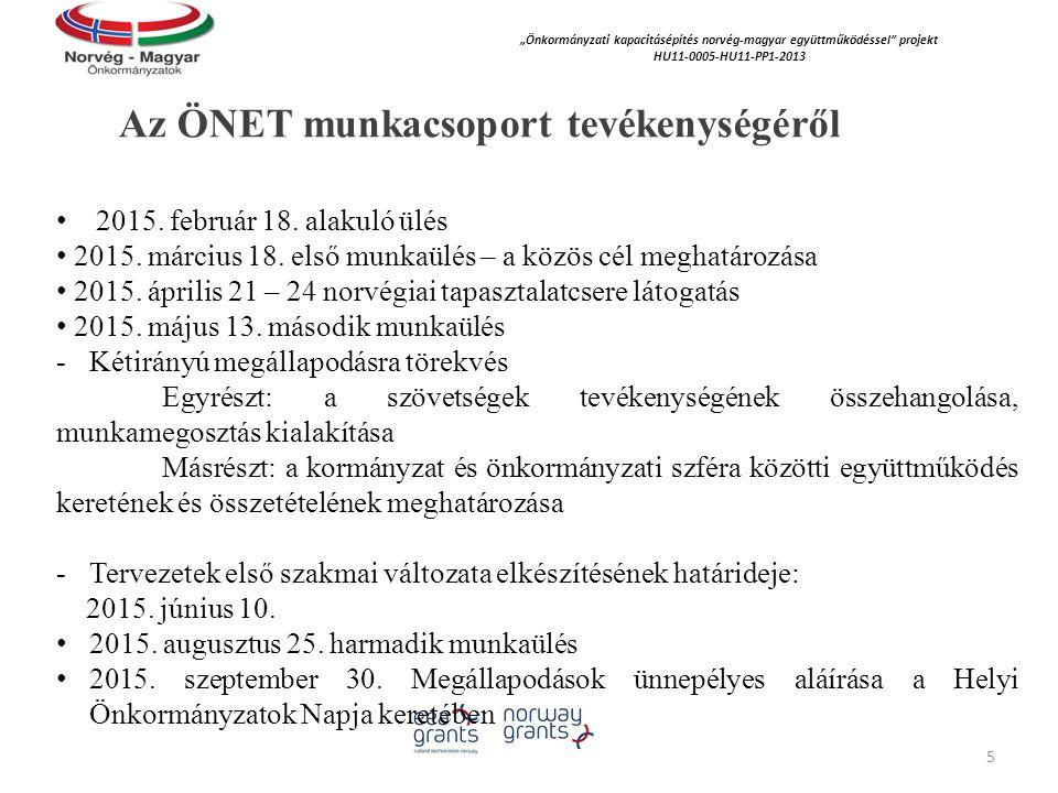 """Az ÖNET munkacsoport tevékenységéről """"Önkormányzati kapacitásépítés norvég‐magyar együttműködéssel projekt HU11-0005-HU11-PP1-2013 2015."""