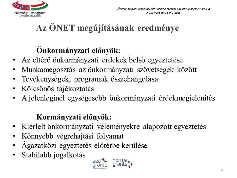 """Az ÖNET megújításának eredménye """"Önkormányzati kapacitásépítés norvég‐magyar együttműködéssel projekt HU11-0005-HU11-PP1-2013 Önkormányzati előnyök: Az eltérő önkormányzati érdekek belső egyeztetése Munkamegosztás az önkormányzati szövetségek között Tevékenységek, programok összehangolása Kölcsönös tájékoztatás A jelenleginél egységesebb önkormányzati érdekmegjelenítés Kormányzati előnyök: Kiérlelt önkormányzati véleményekre alapozott egyeztetés Könnyebb végrehajtási folyamat Ágazatközi egyeztetés előtérbe kerülése Stabilabb jogalkotás 6"""
