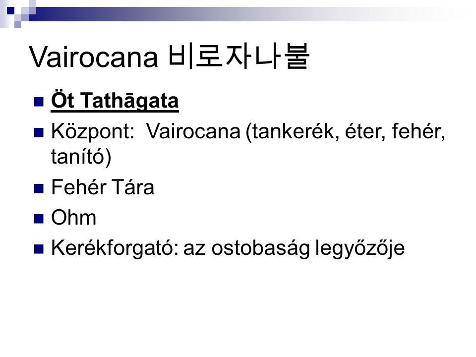 Vairocana 비로자나불 Öt Tathāgata Központ: Vairocana (tankerék, éter, fehér, tanító) Fehér Tára Ohm Kerékforgató: az ostobaság legyőzője