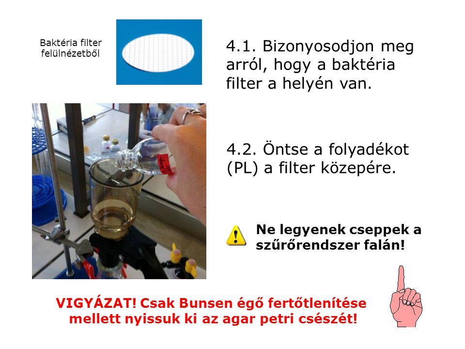 4.1. Bizonyosodjon meg arról, hogy a baktéria filter a helyén van. 4.2. Öntse a folyadékot (PL) a filter közepére. Baktéria filter felülnézetből VIGYÁ