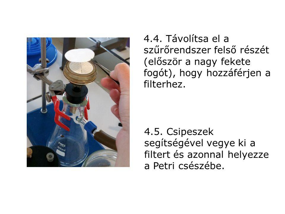 4.4. Távolítsa el a szűrőrendszer felső részét (először a nagy fekete fogót), hogy hozzáférjen a filterhez. 4.5. Csipeszek segítségével vegye ki a fil