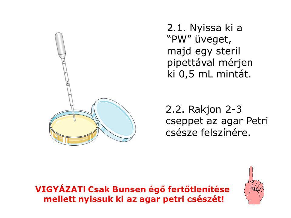 2.1. Nyissa ki a PW üveget, majd egy steril pipettával mérjen ki 0,5 mL mintát.