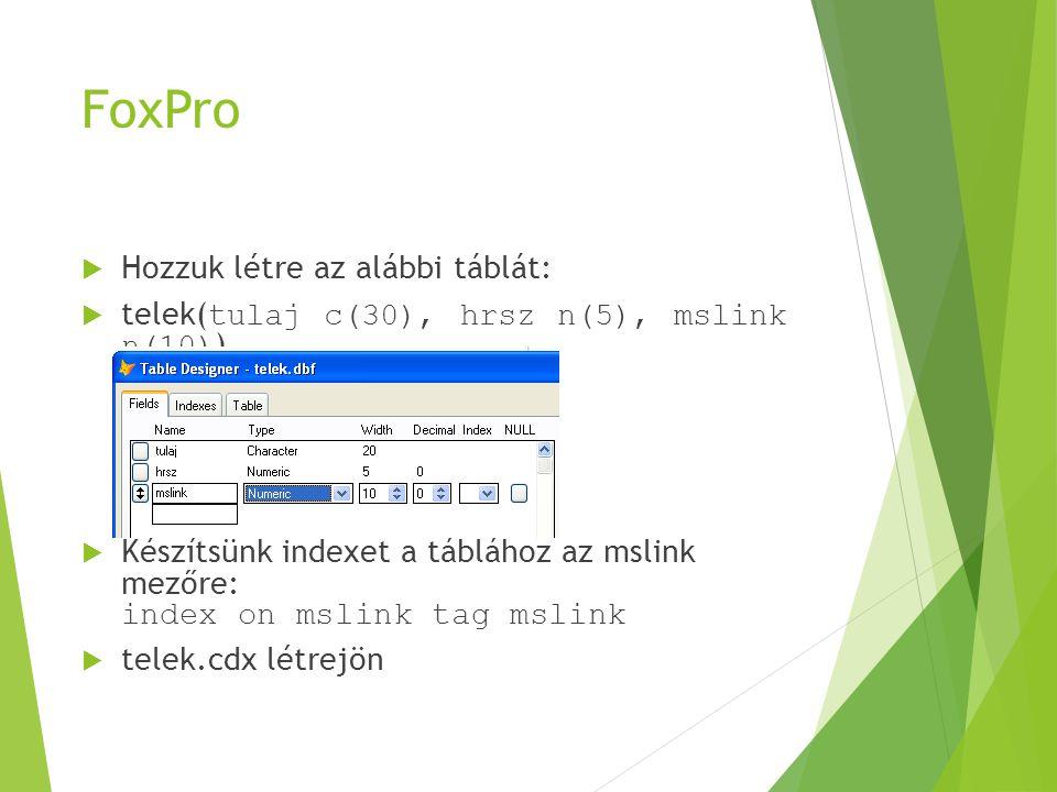 FoxPro (2)  Töltsük fel rekordokkal a táblát