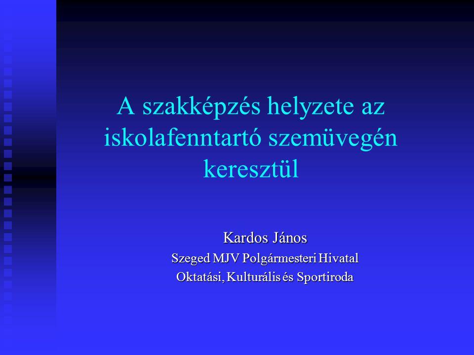 A szakképzés helyzete az iskolafenntartó szemüvegén keresztül Kardos János Szeged MJV Polgármesteri Hivatal Oktatási, Kulturális és Sportiroda