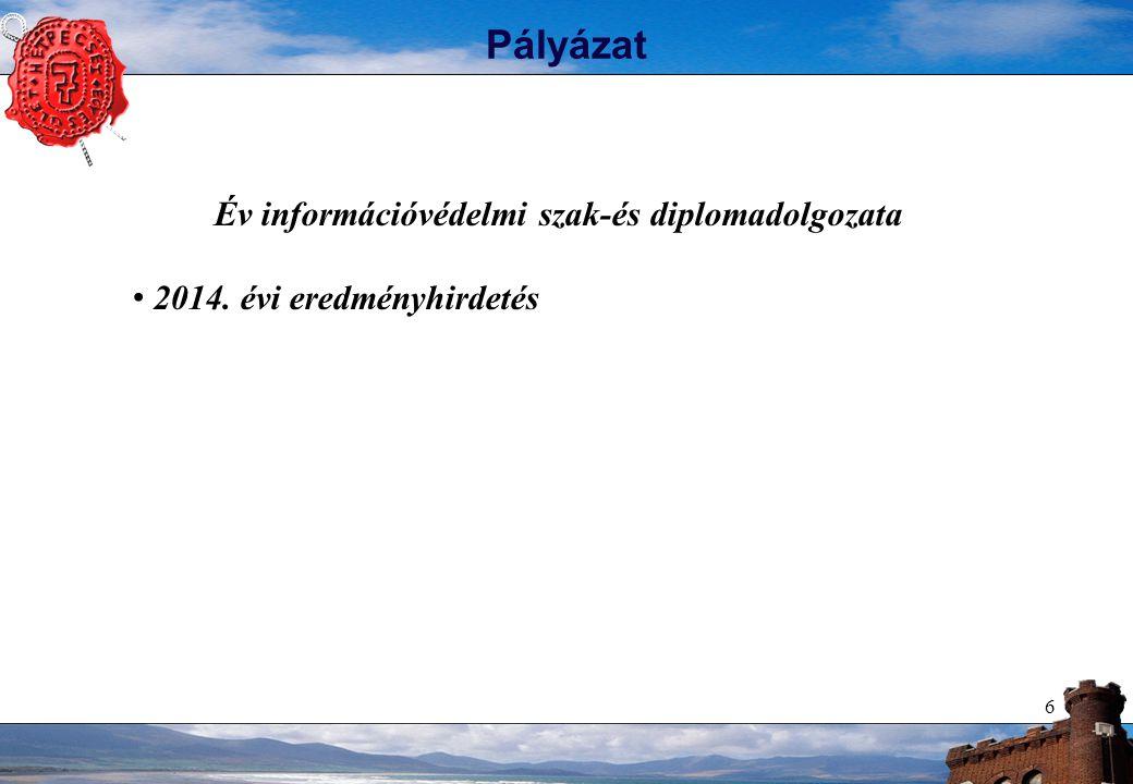 """77 Díjak az Egyesülettől Az év információbiztonsági diplomadolgozata (2006-tól) 2006 - Czirkos Zoltán (BMGE) - P2P alapú biztonsági szoftver kifejlesztése 2007 - Gulyás Gábor György (BMGE) - Anonim csevegő szolgáltatás vizsgálata hagyományos és mobil környezetben 2008 - Cserbák Márton (BMGE) - """"Lightweight biztonsági megoldás rádiófrekvenciás azonosítással támogatott elektronikus kereskedelmi környezetben 2009 – Horváth Bence Dénes (BCE) – Identity management – üzleti előny/technológiai kockázat… ."""