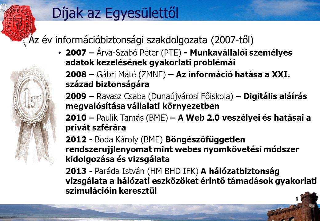 88 Díjak az Egyesülettől Az év információbiztonsági szakdolgozata (2007-től) 2007 – Árva-Szabó Péter (PTE) - Munkavállalói személyes adatok kezelésének gyakorlati problémái 2008 – Gábri Máté (ZMNE) – Az információ hatása a XXI.