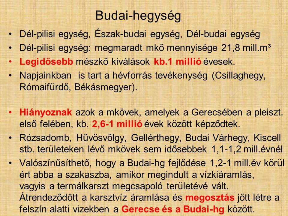 Dél-pilisi egység, Észak-budai egység, Dél-budai egység Dél-pilisi egység: megmaradt mkő mennyisége 21,8 mill.m³ Legidősebb mészkő kiválások kb.1 millió évesek.
