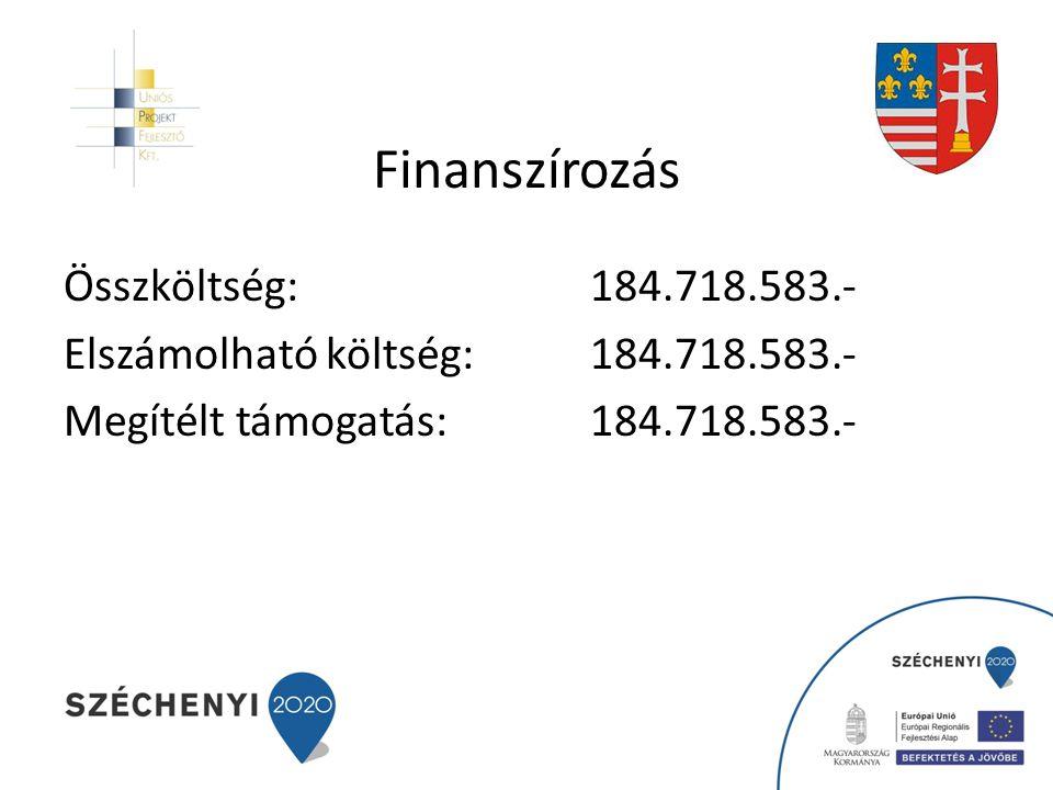 Finanszírozás Összköltség:184.718.583.- Elszámolható költség:184.718.583.- Megítélt támogatás:184.718.583.-