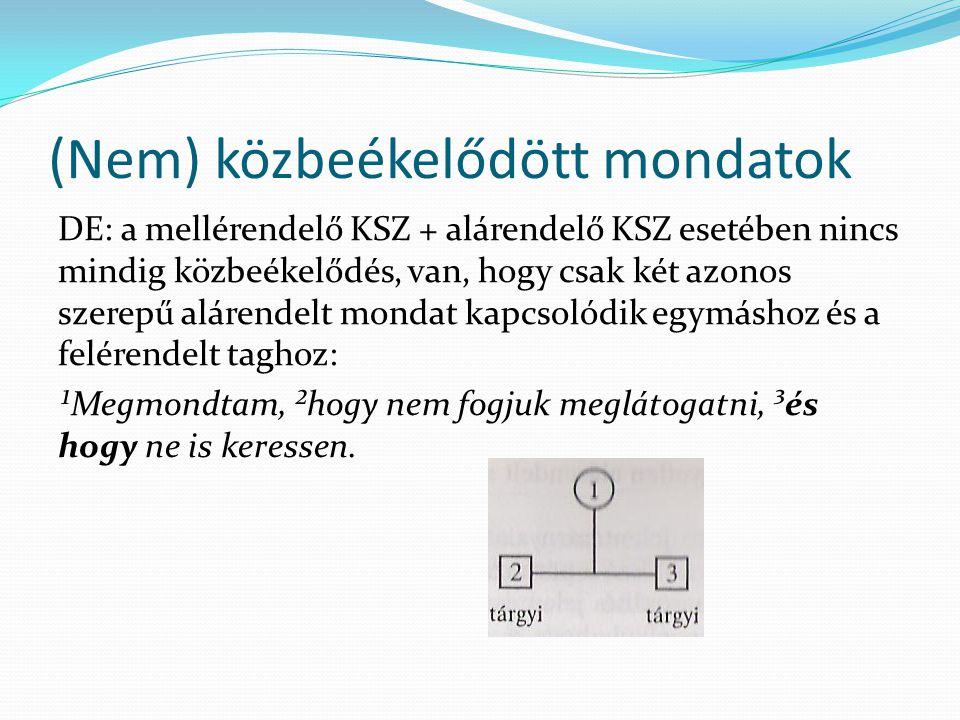 (Nem) közbeékelődött mondatok DE: a mellérendelő KSZ + alárendelő KSZ esetében nincs mindig közbeékelődés, van, hogy csak két azonos szerepű alárendel