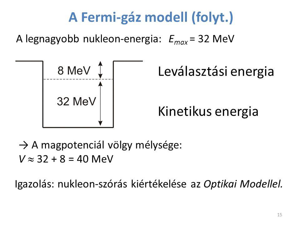 → A magpotenciál völgy mélysége: V  32 + 8 = 40 MeV Leválasztási energia Kinetikus energia A Fermi-gáz modell (folyt.) A legnagyobb nukleon-energia: