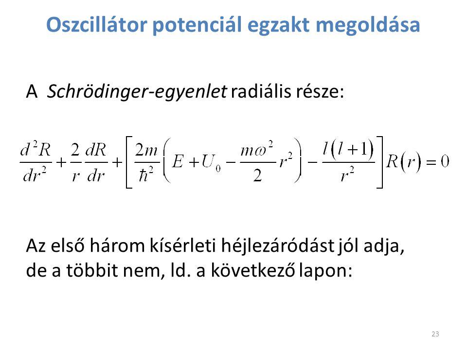 Oszcillátor potenciál egzakt megoldása A Schrödinger-egyenlet radiális része: Az első három kísérleti héjlezáródást jól adja, de a többit nem, ld. a k