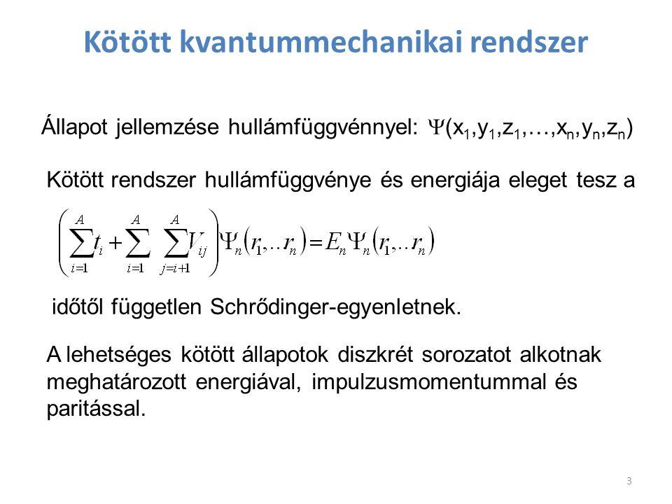 Kötött kvantummechanikai rendszer Állapot jellemzése hullámfüggvénnyel:  (x 1,y 1,z 1,…,x n,y n,z n ) Kötött rendszer hullámfüggvénye és energiája el
