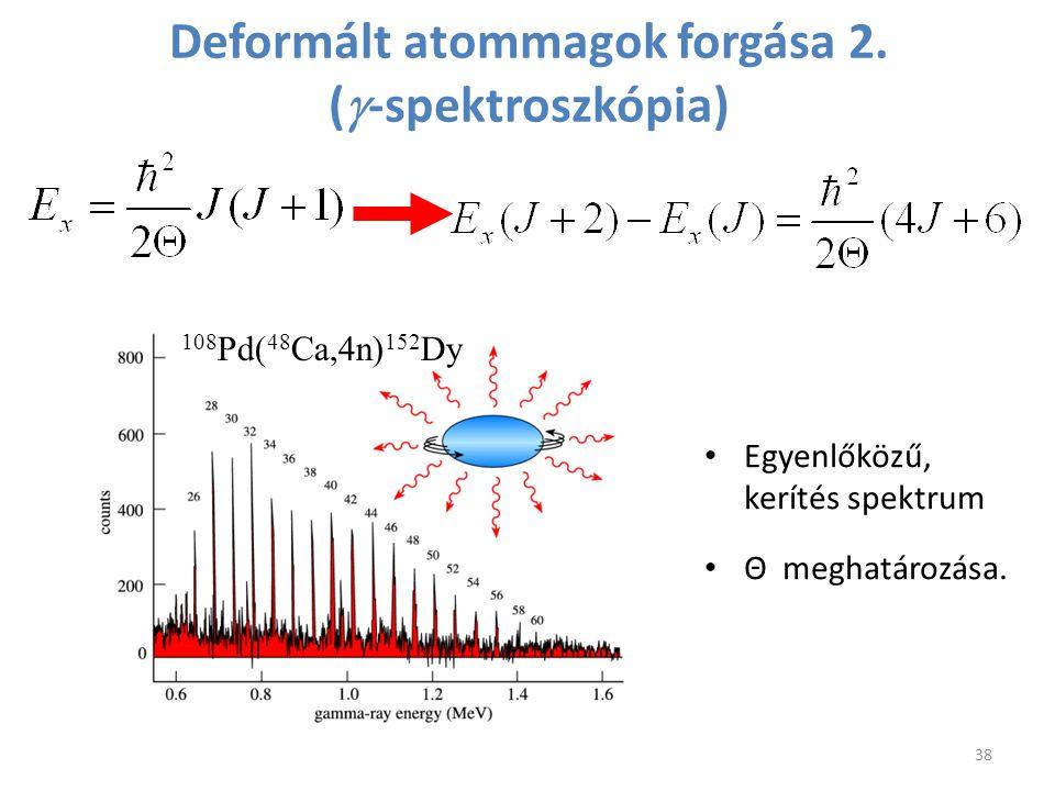 108 Pd( 48 Ca,4n) 152 Dy Deformált atommagok forgása 2. (  -spektroszkópia) Egyenlőközű, kerítés spektrum Θ meghatározása. 38