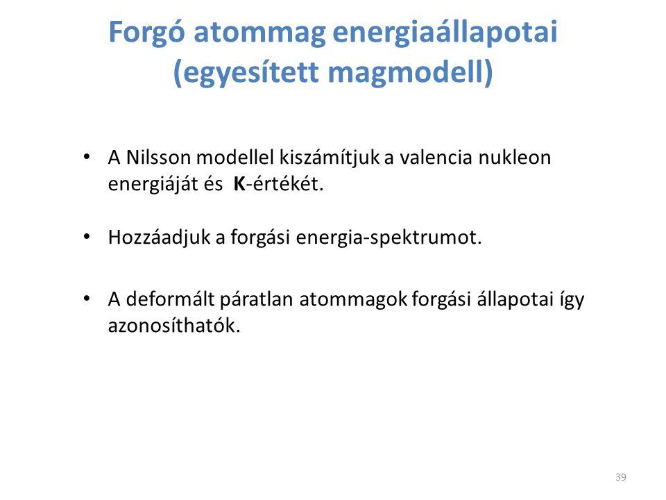 Forgó atommag energiaállapotai (egyesített magmodell) A Nilsson modellel kiszámítjuk a valencia nukleon energiáját és K-értékét. Hozzáadjuk a forgási