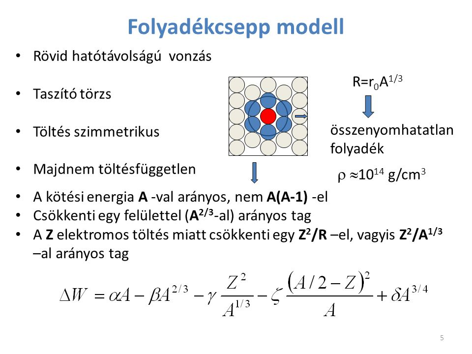 Rövid hatótávolságú vonzás Taszító törzs Töltés szimmetrikus Majdnem töltésfüggetlen Folyadékcsepp modell összenyomhatatlan folyadék R=r 0 A 1/3   1