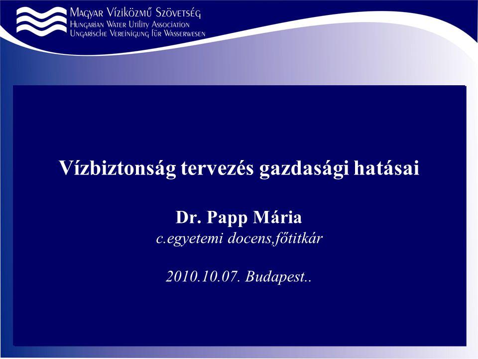Vízbiztonság tervezés gazdasági hatásai Dr. Papp Mária c.egyetemi docens,főtitkár 2010.10.07.