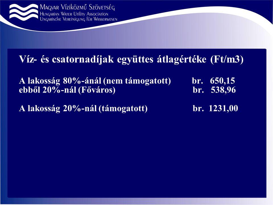 Víz- és csatornadíjak együttes átlagértéke (Ft/m3) A lakosság 80%-ánál (nem támogatott) br.