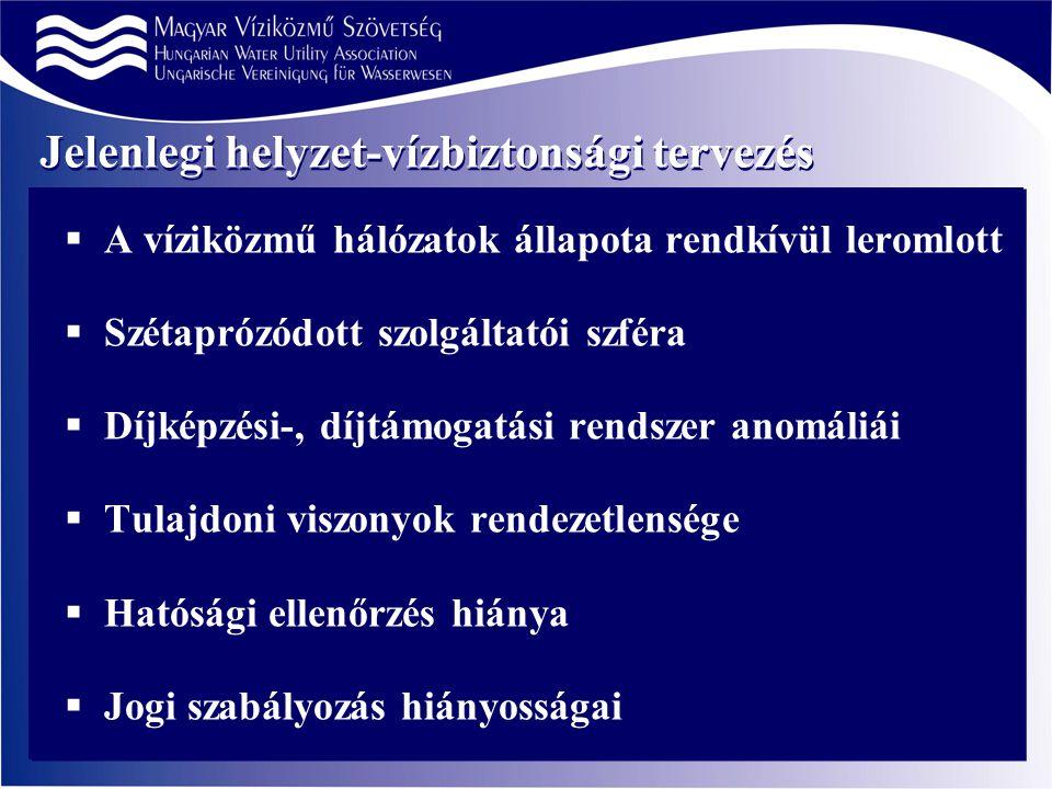Jelenlegi helyzet-vízbiztonsági tervezés  A víziközmű hálózatok állapota rendkívül leromlott  Szétaprózódott szolgáltatói szféra  Díjképzési-, díjtámogatási rendszer anomáliái  Tulajdoni viszonyok rendezetlensége  Hatósági ellenőrzés hiánya  Jogi szabályozás hiányosságai