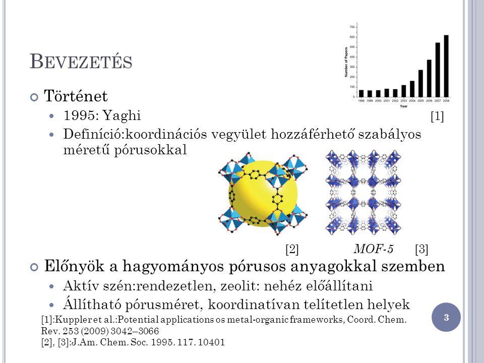 B EVEZETÉS Történet 1995: Yaghi Definíció:koordinációs vegyület hozzáférhető szabályos méretű pórusokkal Előnyök a hagyományos pórusos anyagokkal szem