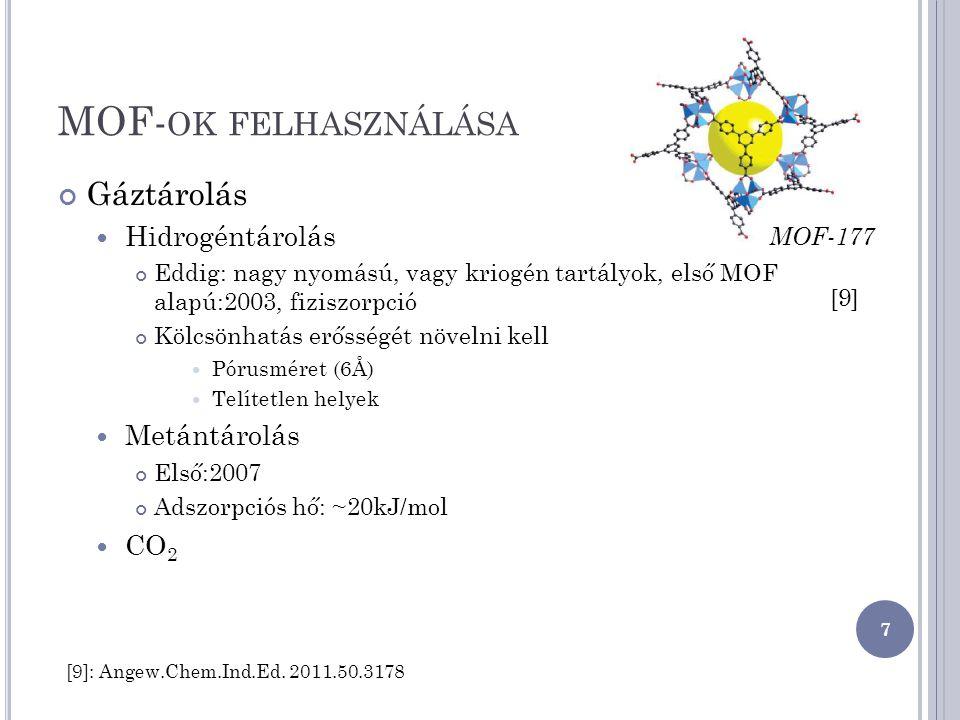 MOF- OK FELHASZNÁLÁSA Gáztárolás Hidrogéntárolás Eddig: nagy nyomású, vagy kriogén tartályok, első MOF alapú:2003, fiziszorpció Kölcsönhatás erősségét