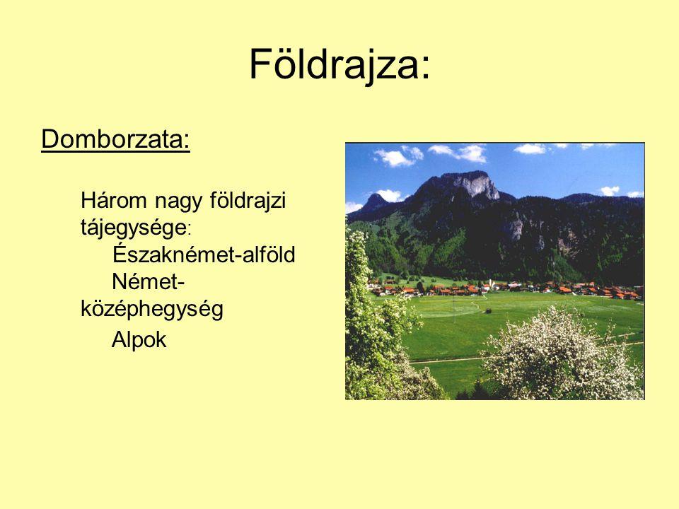 Földrajza: Domborzata: Három nagy földrajzi tájegysége : Északnémet-alföld Német- középhegység Alpok