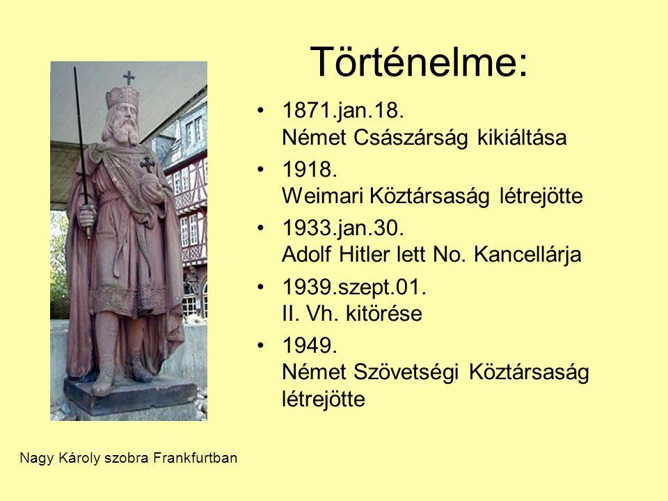 1871.jan.18. Német Császárság kikiáltása 1918. Weimari Köztársaság létrejötte 1933.jan.30. Adolf Hitler lett No. Kancellárja 1939.szept.01. II. Vh. ki