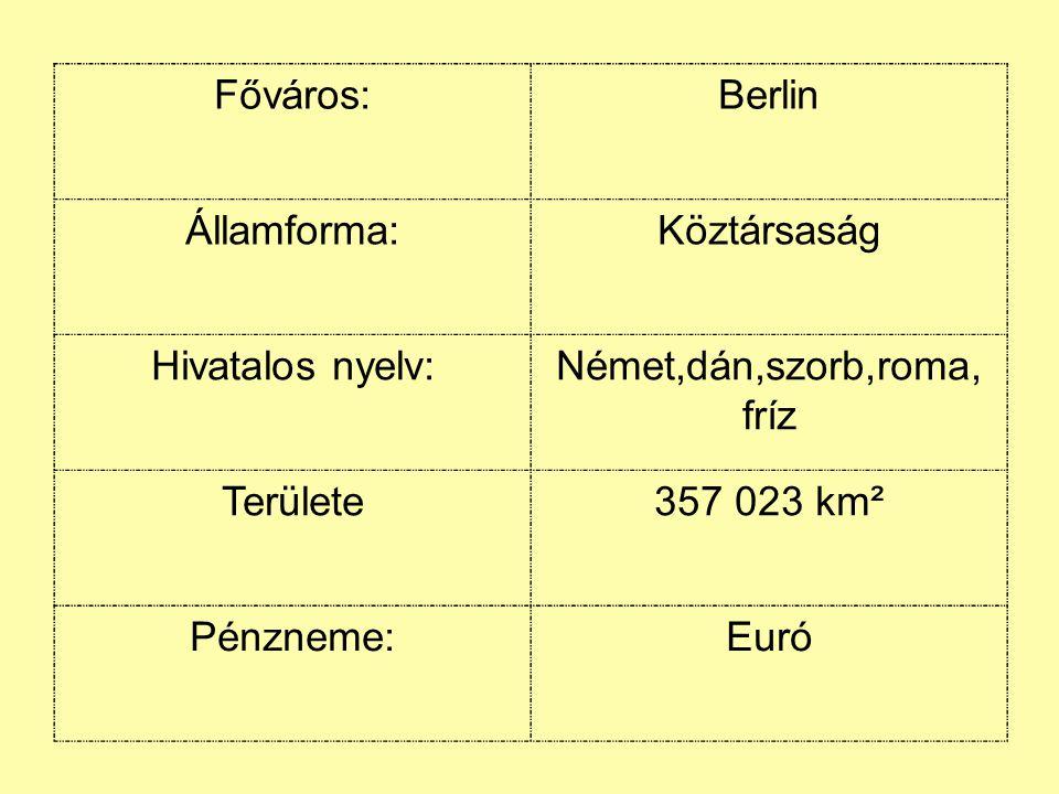Főváros:Berlin Államforma:Köztársaság Hivatalos nyelv:Német,dán,szorb,roma, fríz Területe357 023 km² Pénzneme:Euró