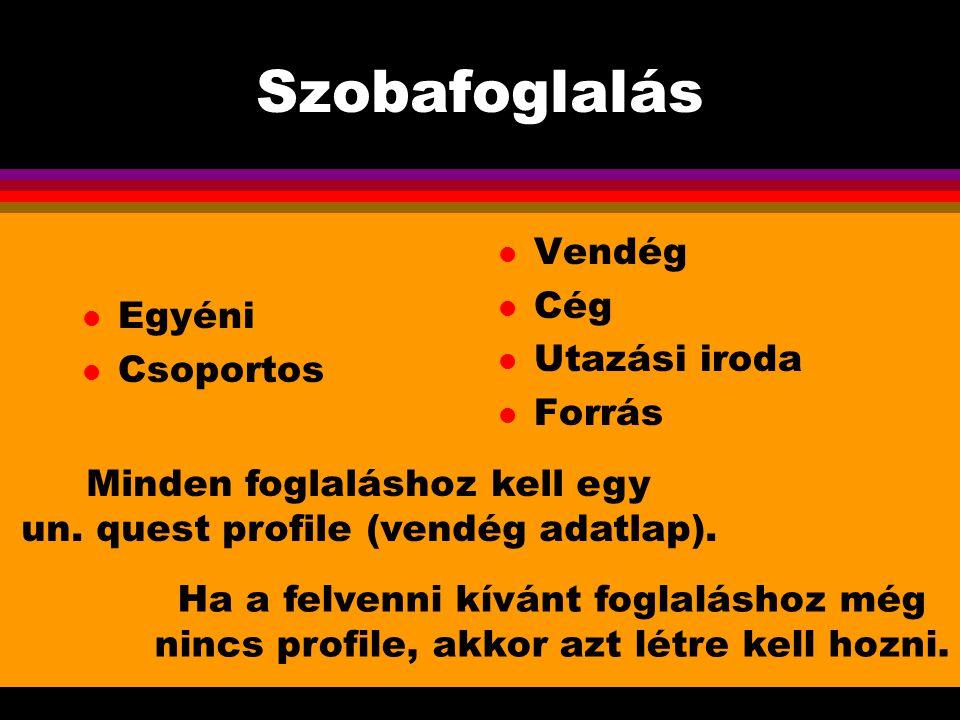 Szobafoglalás l Egyéni l Csoportos l Vendég l Cég l Utazási iroda l Forrás Minden foglaláshoz kell egy un. quest profile (vendég adatlap). Ha a felven