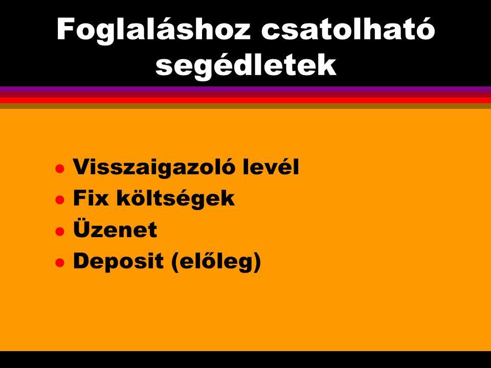 Foglaláshoz csatolható segédletek l Visszaigazoló levél l Fix költségek l Üzenet l Deposit (előleg)