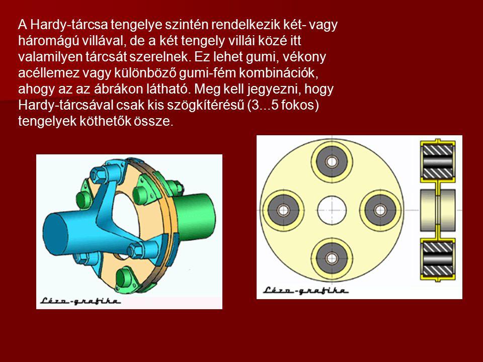 A Hardy-tárcsa tengelye szintén rendelkezik két- vagy háromágú villával, de a két tengely villái közé itt valamilyen tárcsát szerelnek. Ez lehet gumi,