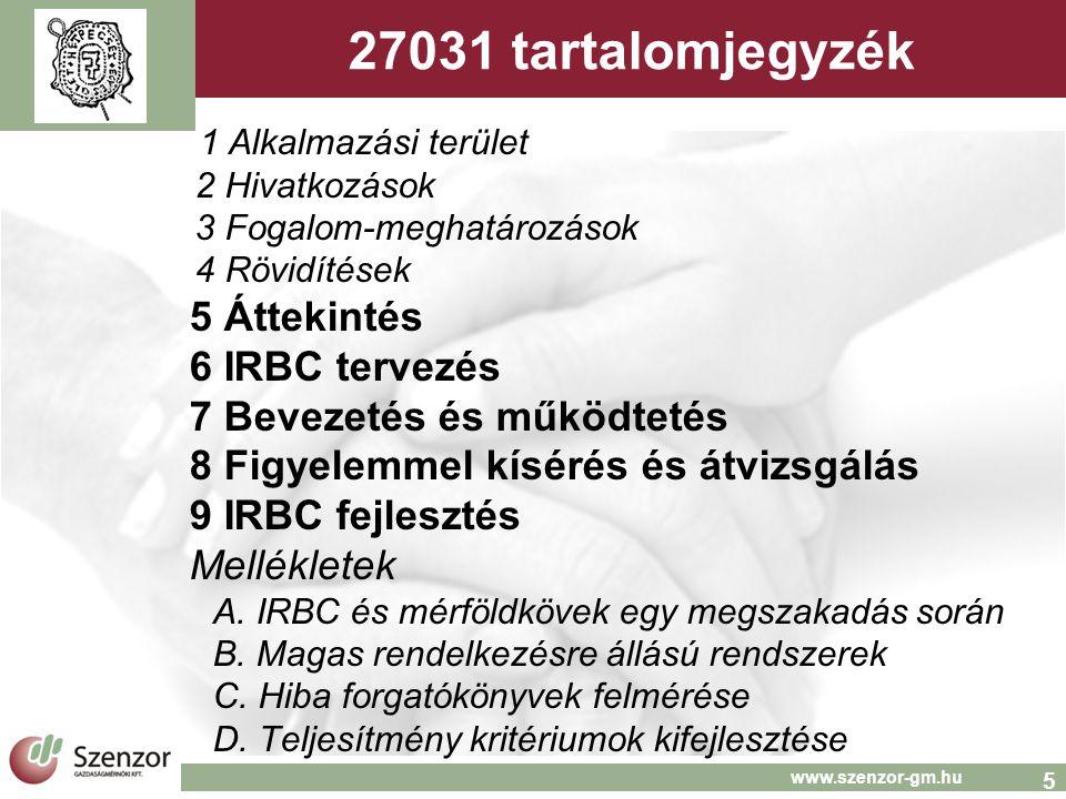 5 www.szenzor-gm.hu 27031 tartalomjegyzék 1 Alkalmazási terület 2 Hivatkozások 3 Fogalom-meghatározások 4 Rövidítések 5 Áttekintés 6 IRBC tervezés 7 Bevezetés és működtetés 8 Figyelemmel kísérés és átvizsgálás 9 IRBC fejlesztés Mellékletek A.