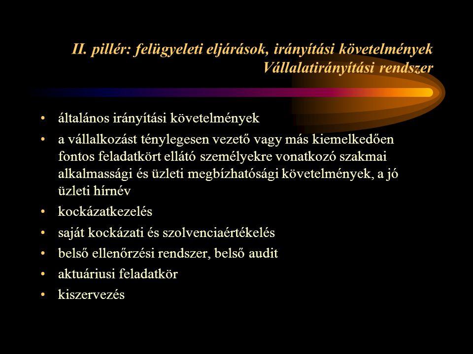 II. pillér: felügyeleti eljárások, irányítási követelmények Vállalatirányítási rendszer általános irányítási követelmények a vállalkozást ténylegesen