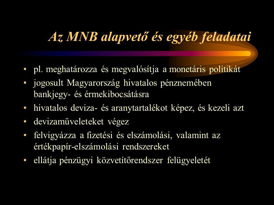 Az MNB alapvető és egyéb feladatai pl. meghatározza és megvalósítja a monetáris politikát jogosult Magyarország hivatalos pénznemében bankjegy- és érm